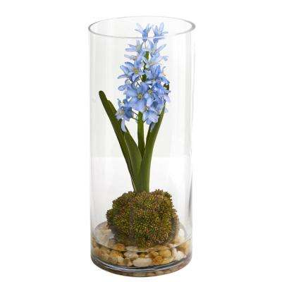 14 in. Indoor Hyacinth and Sedum Artificial Arrangement