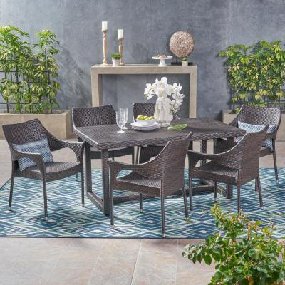 Kora Multi-Brown 7-Piece Wicker Outdoor Dining Set with Stacking Chairs