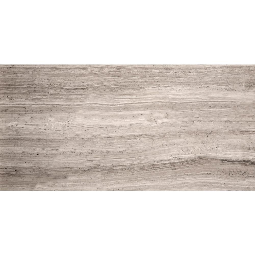 Limestone Gray Honed 12.01 in. x 24.02 in. Limestone Floor and