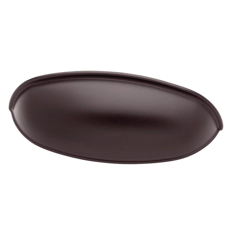Liberty 2-1/2 or 3 in. (64 or 76mm) Center-to-Center Dark Oil Rubbed Bronze Dual Mount Cup Drawer Pull