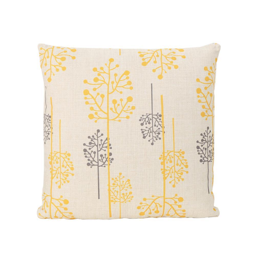 Sagres Orange and Grey Square Outdoor Throw Pillow