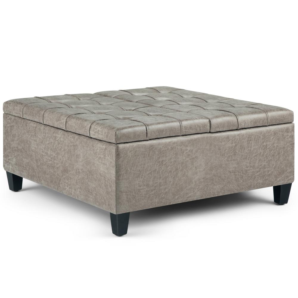 Simpli Home Harrison Distressed Grey Taupe Coffee Table Storage Ottoman