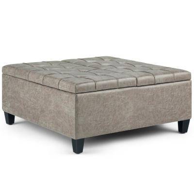 Harrison 36 in. Traditional Square Storage Ottoman in Distressed Grey Taupe Faux Air Leather