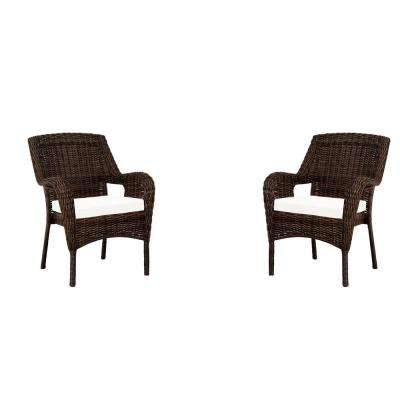 Cambridge Brown Wicker Outdoor Dining Chair with Cushions Included (2-Pack), Choose Your Own Color