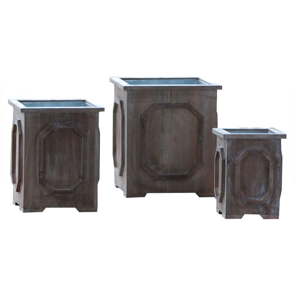 Home Decorators Collection 8 in. W Petite Weathered Wood Medallion Planter