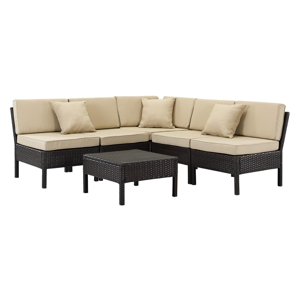 Florence Brown 6-Piece Wicker Patio Sectional Seating Set with Tan Cushions