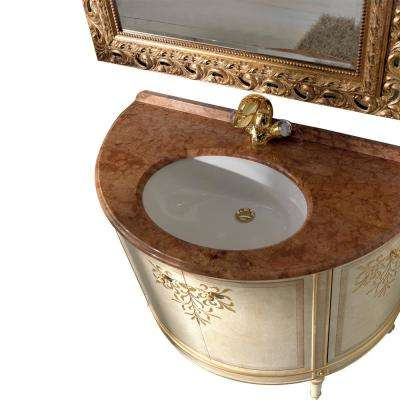 Monte 42.5 in. W x 22 in. D Vanity in Gold with Solid Oak Wood Vanity Top in Brown with Gold Basin