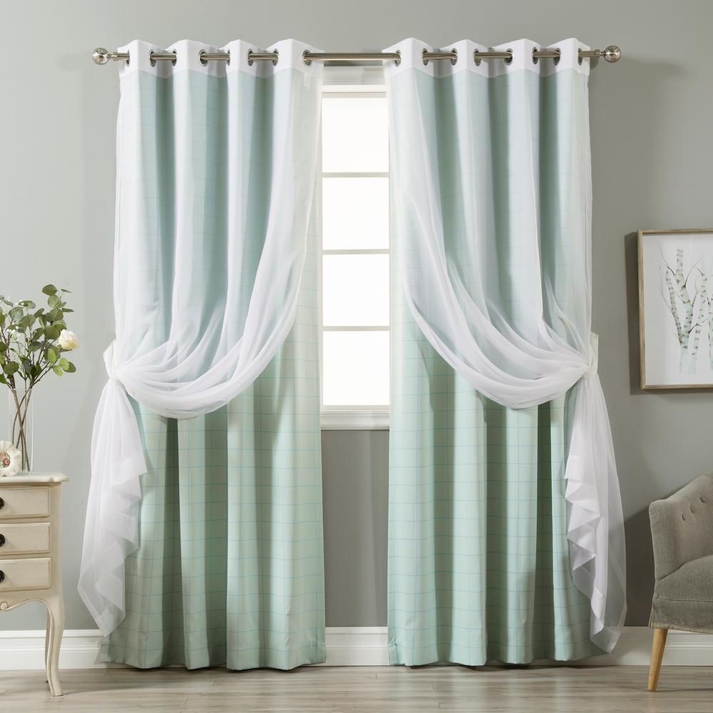 best home fashion 84 in l umixm tulle and mint checkered room darkening curtain 4 pack mm sil. Black Bedroom Furniture Sets. Home Design Ideas