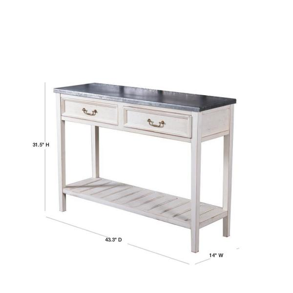 Winsome House Vintage 44 In White Black Standard Rectangle Marble Console Table With Drawers Whif365 The Home Depot