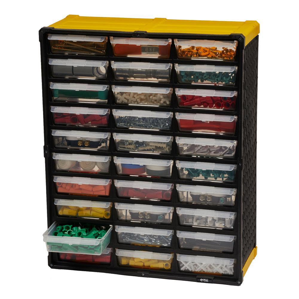 30-Compartment Small Parts Organizer, Yellow