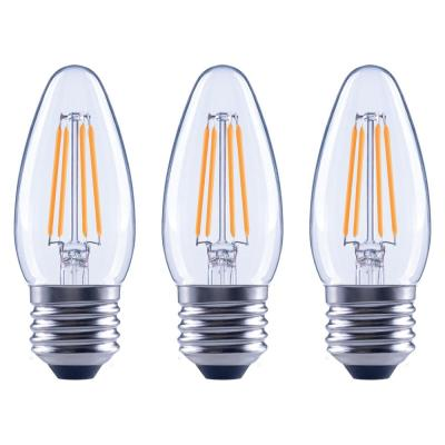 40-Watt Equivalent B11 Dimmable Clear Filament Vintage Style LED Light Bulb Soft White (3-Pack)