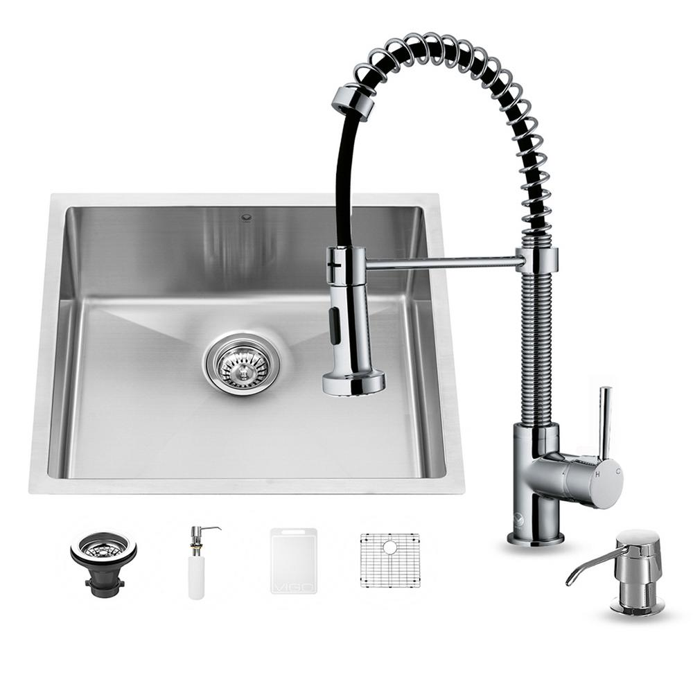 VIGO All-in-One Undermount Stainless Steel 23 in. 0-Hole Single Bowl Kitchen Sink in Chrome