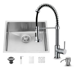 VIGO All In One Undermount Stainless Steel 23 In. 0 Hole Single Bowl Kitchen  Sink In Chrome VG15216   The Home Depot