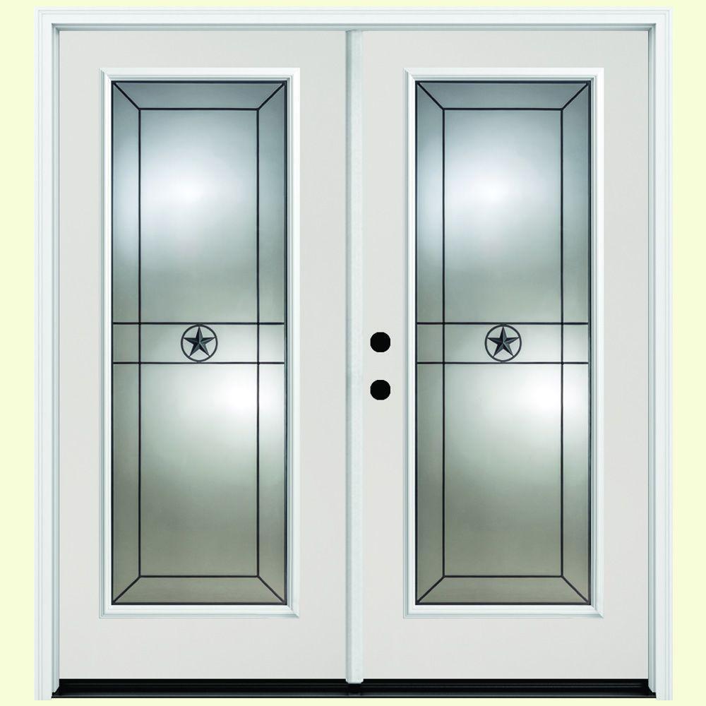 48 in. x 80 in. Alamo White Primer Prehung Primed Right-Hand Inswing Full Lite Fiberglass Patio Door