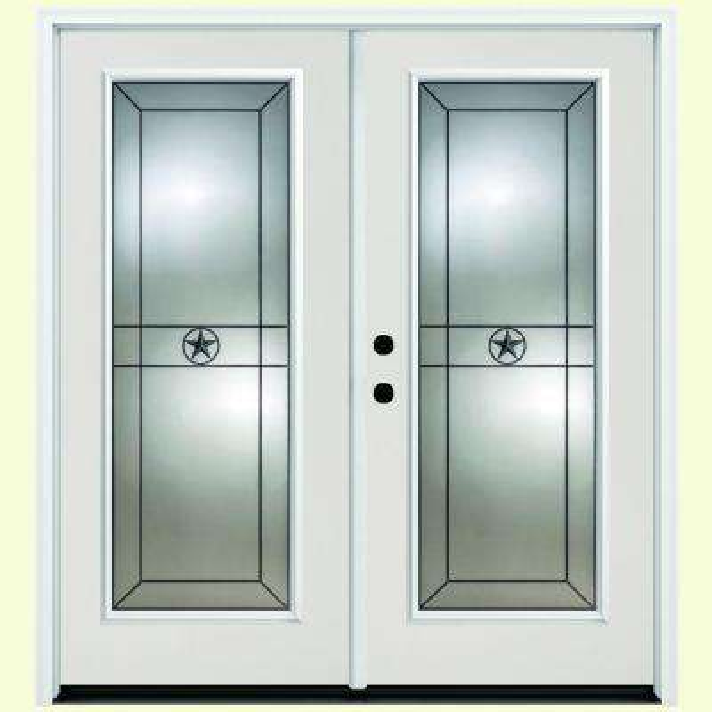 56 in. x 80 in. Alamo White Primer Prehung Primed Right-Hand Inswing Full Lite Fiberglass Patio Door