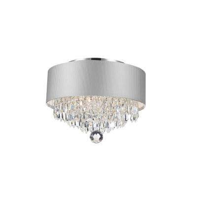 Gatsby Collection 3-Light Chrome Crystal with White Acrylic Shade Flush Mount
