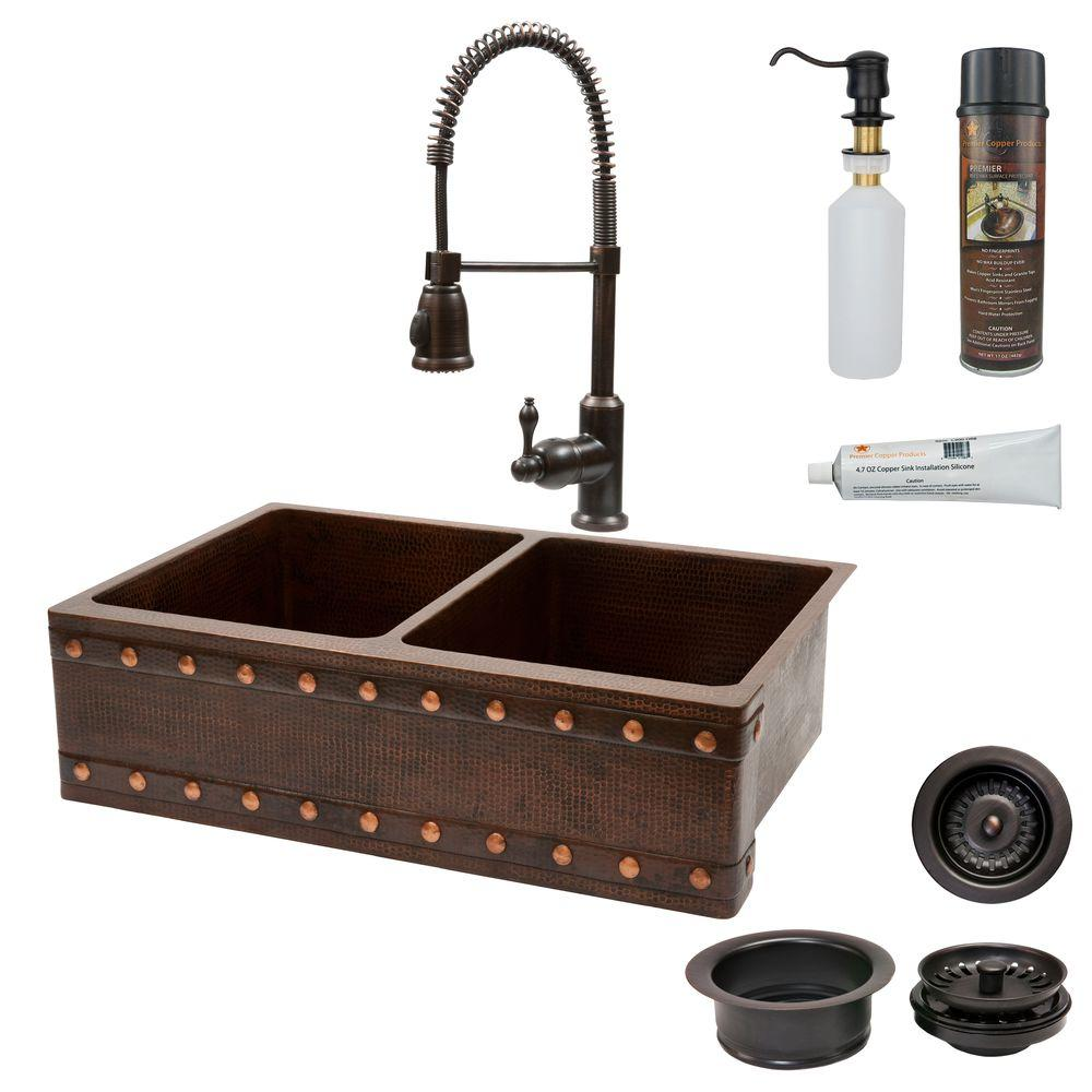 Premier Copper Products All-in-One Undermount Copper 33 in. 0-Hole 50/50 Double Bowl Kitchen Sink with Barrel Strap Design in Oil Rubbed Bronze
