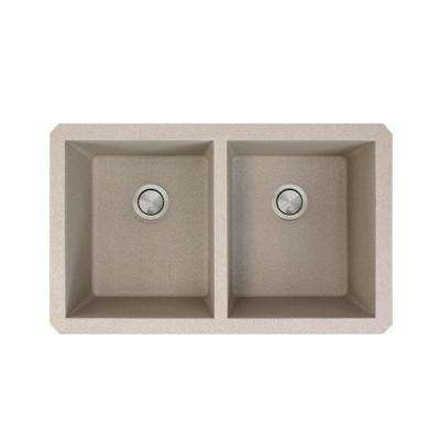 Radius Undermount Granite 32 in. Equal Double Bowl Kitchen Sink in Cafe Latte