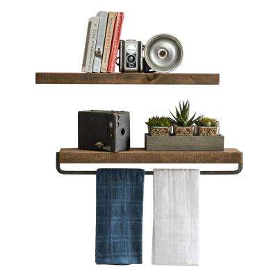 True Floating 5.5 in. x 24 in. Dark Walnut Pine Wood Floating Decorative Wall and Towel Shelf Set with Brackets