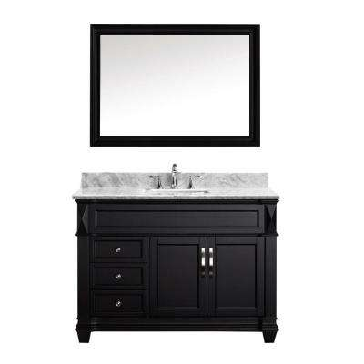 Victoria 49 in. W Bath Vanity in Espresso with Marble Vanity Top in White with Square Basin and Mirror