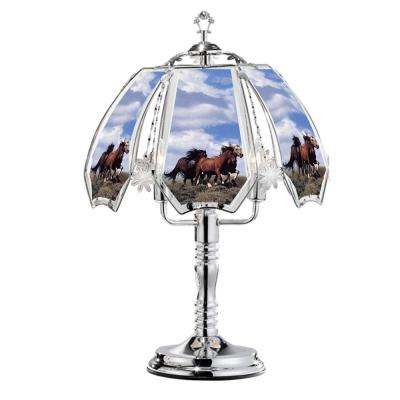 23.5 in. Running Horses Silver Touch-On Table Lamp
