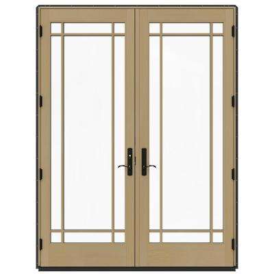 72 in. x 96 in. W-4500 Bronze Clad Wood Right-Hand 9 Lite French Patio Door w/Unfinished Interior