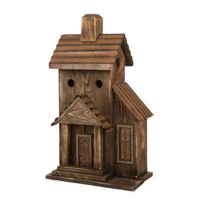 24.02 in. H Rustic Wood Natural Birdhouse