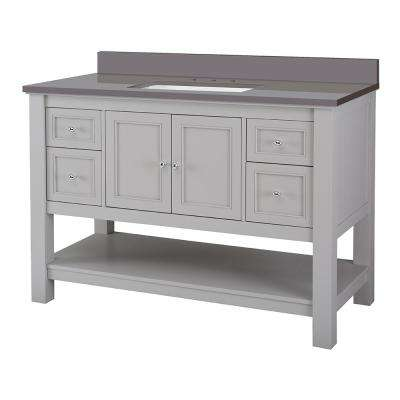 Gazette 49 in. W x 22 in. D Bath Vanity Cabinet in Grey with Engineered Marble Vanity Top in Slate Grey with White Sink
