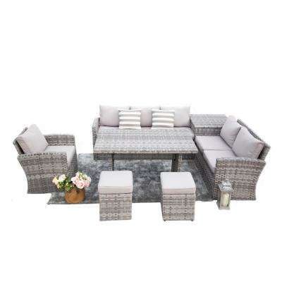Cannes 6-Piece Steel Wicker Patio Conversation Set with Side Stoarge Box and Grey Cushions