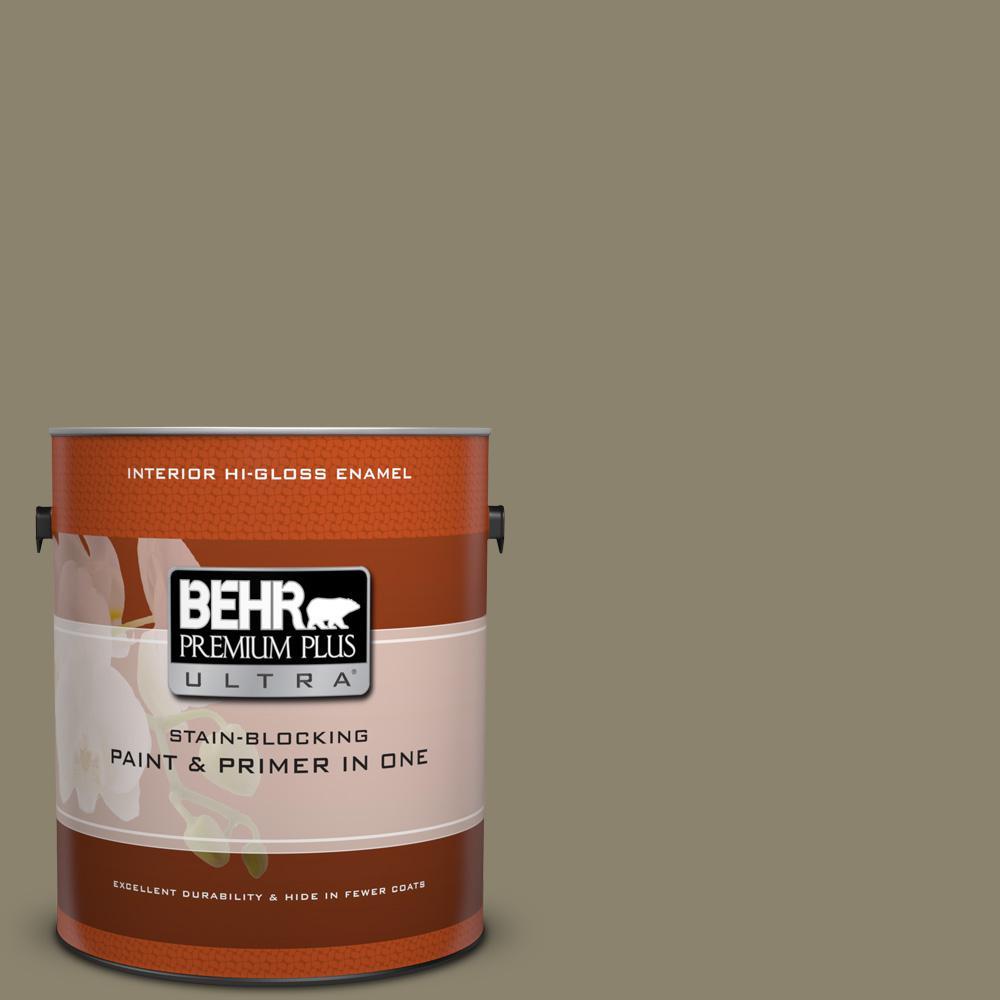 1 gal. #ECC-55-3 Olive Sprig Hi-Gloss Enamel Interior Paint