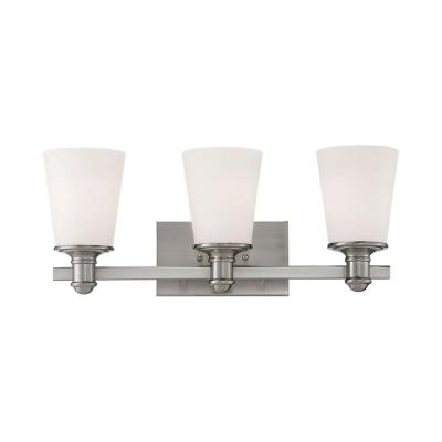 3-Light Satin Nickel Vanity Light and Etched White Glass
