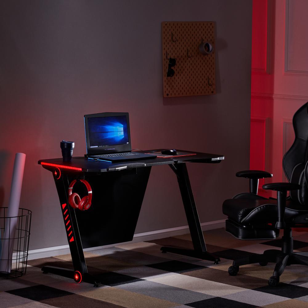 Merax Black RGB LED Lights and Headphone Hook Gaming Desk Deals