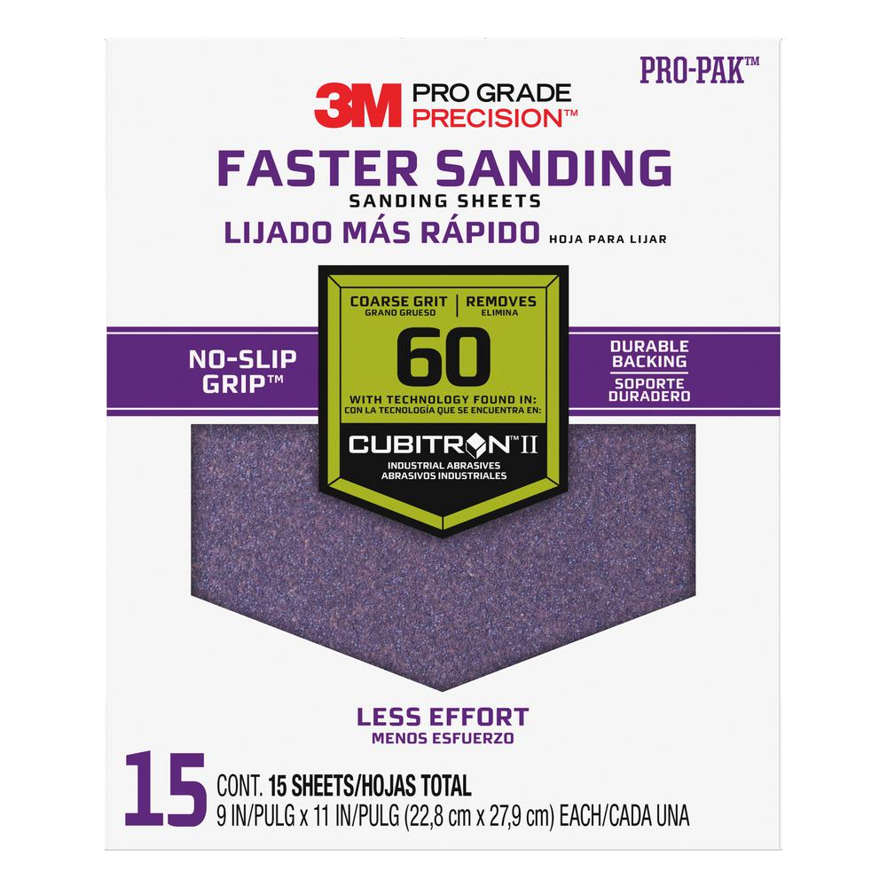 3M Pro Grade Precision 9 in. x 11 in. 60 Grit Coarse Advanced Sanding Sheets (15-Pack) (Case of 5)