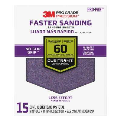 Pro Grade Precision 9 in. x 11 in. 60 Grit Coarse Advanced Sanding Sheets (15-Pack) (Case of 5)