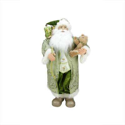 32 in. Christmas St. Patrick's Irish Standing Santa Claus Figure with Teddy Bear and Gift Bag