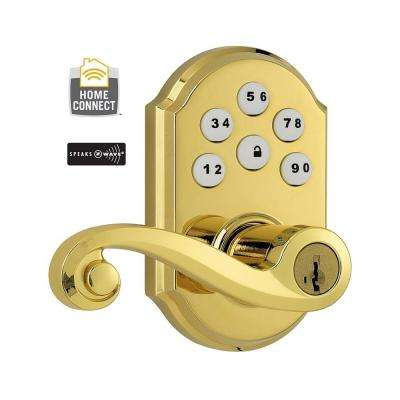 Z-Wave SmartCode Lifetime Polished Brass Electronic Lido Lever Featuring SmartKey