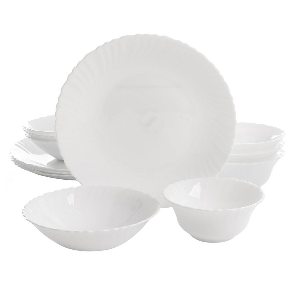 Gibson Home Duraliving Radley 12-Piece White Double Bowl Dinnerware Set