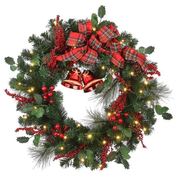 30 in. Christmas Wreath with 50-Battery Operated LED Lights