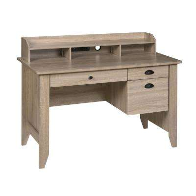 USB And Charger Hub Wood Grain Light Oak Executive Desk With Hutch