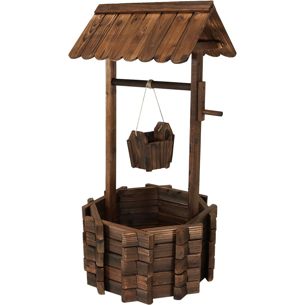 45 in. Wishing Well Wood Outdoor Garden Planter