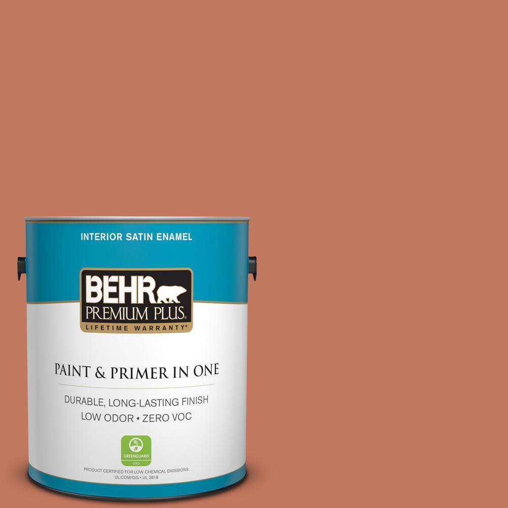 1-gal. #PMD-11 Warm Terra Cotta Zero VOC Satin Enamel Interior Paint
