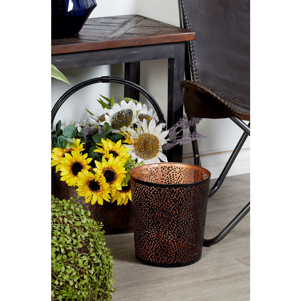 Round Black and Copper Iron Waste Can with Circular and Diamond-Shaped