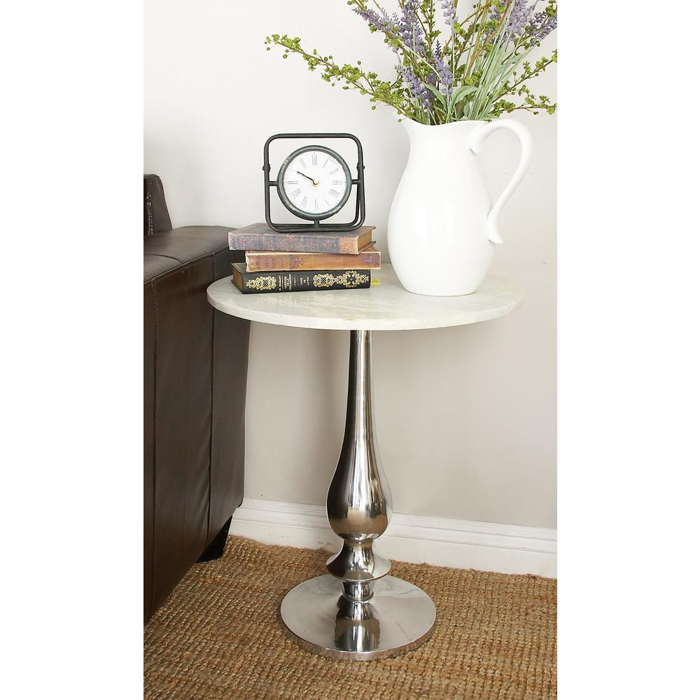 White Marble Round Accent Table with Silver Aluminum Pedestal