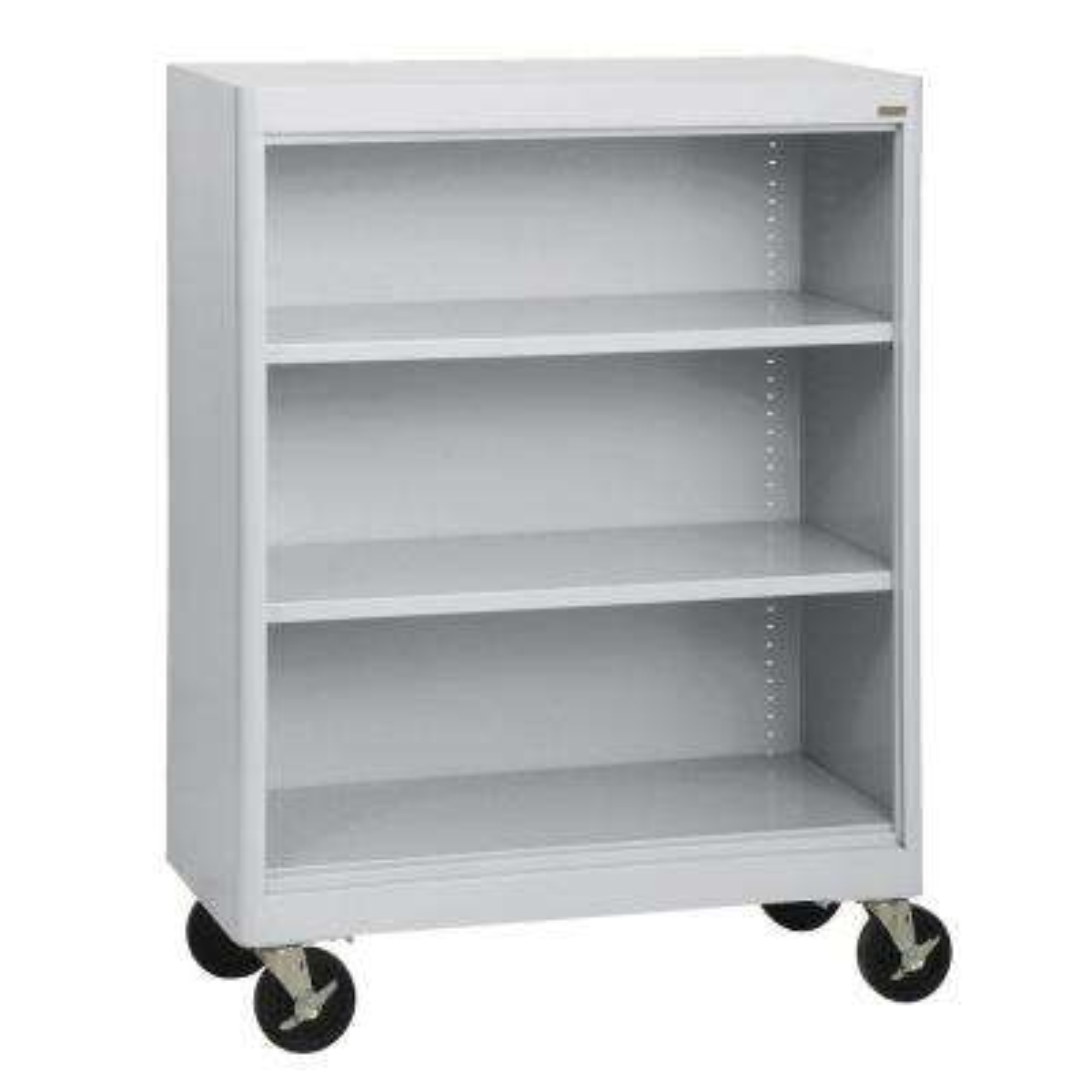 Radius Edge Dove Gray Mobile Steel Bookcase