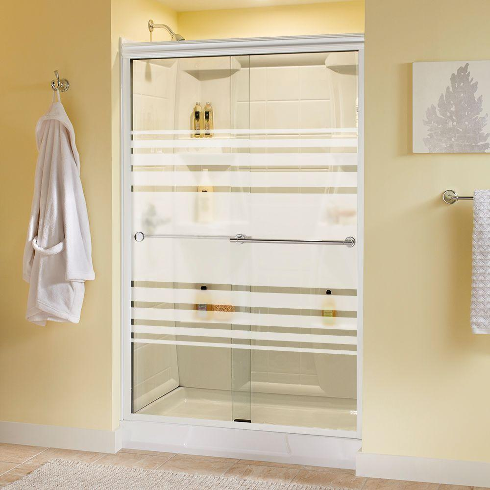 Delta Lyndall 48 in. x 70 in. Semi-Frameless Sliding Shower Door in White with Chrome Handle and Transition Glass