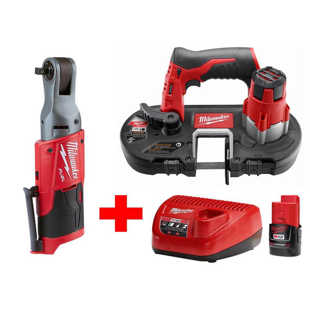 Milwaukee M12 12-Volt Lithium-Ion Cordless Sub-Compact Band Saw and 3/8 in. Ratchet Combo Kit W/ (1) 2.0Ah Battery and Charger