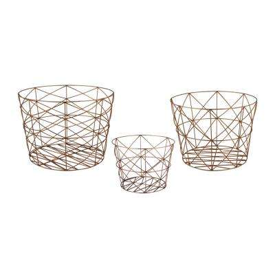 Geometric Copper Nested Decorative Baskets (Set of 3)
