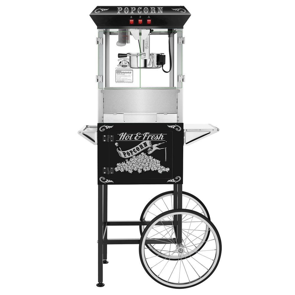 Superior Popcorn Company 8 oz. Hot and Fresh Black Popcorn Machine with Cart