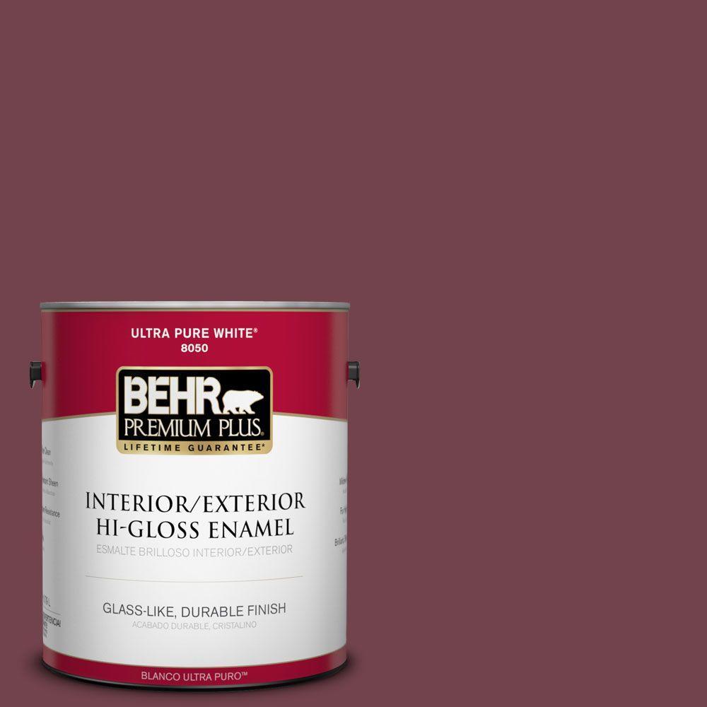 BEHR Premium Plus 1-gal. #PPF-50 Fired Brick Hi-Gloss Enamel Interior/Exterior Paint