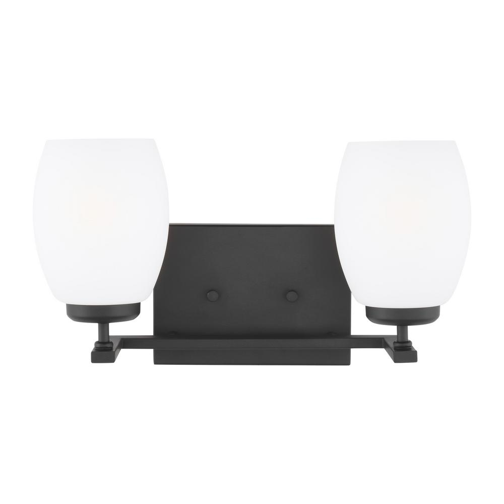 Catlin 14.25 in. 2-Light Midnight Black Vanity Light with Etched White Inside Glass Shades